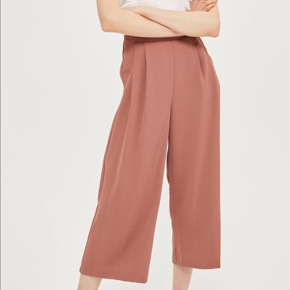 17c45f9d4170 Topshop Pants | Pink Cropped Wide Leg Trousers | Poshmark